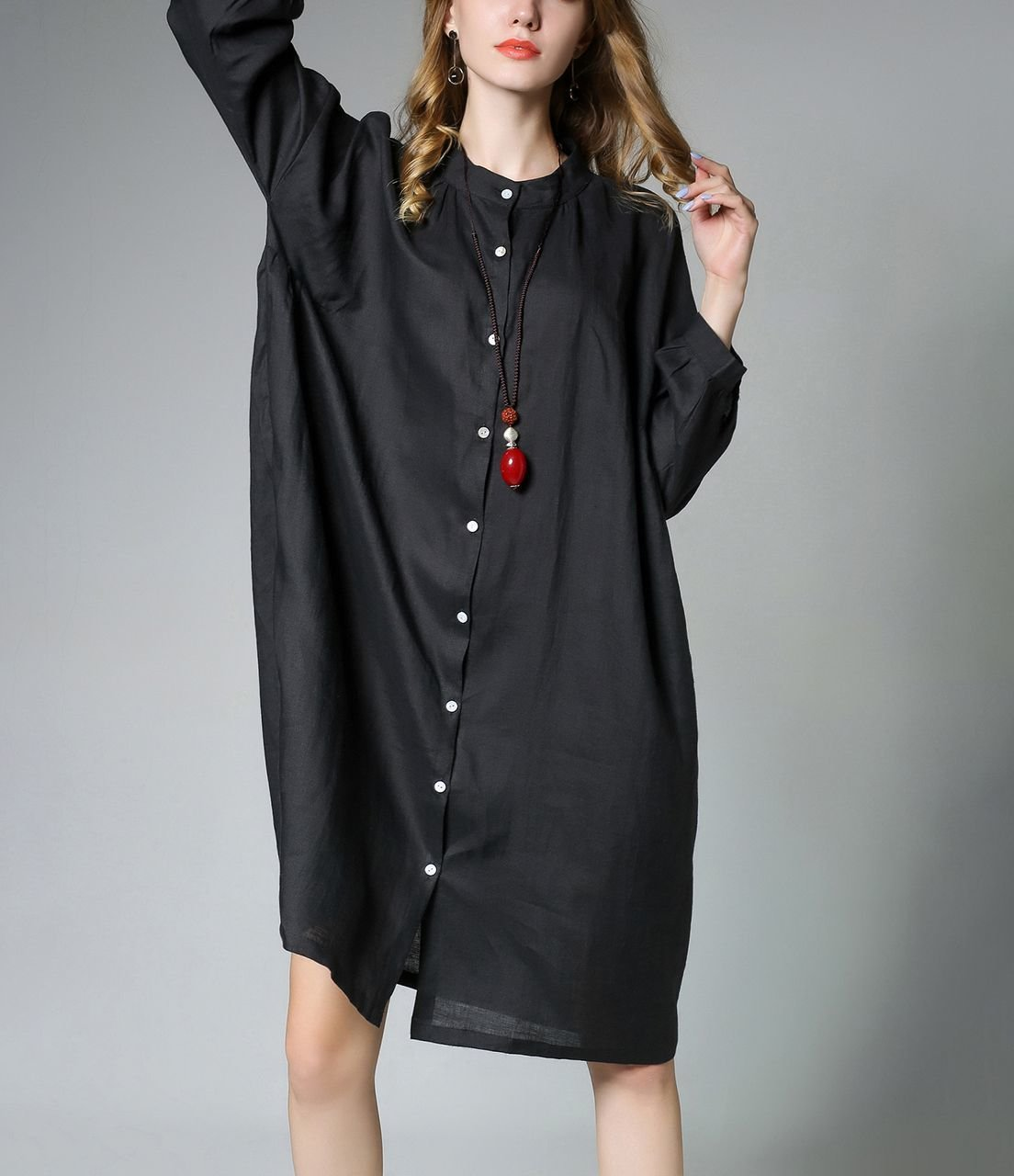 Button Front Linen Casual Dress