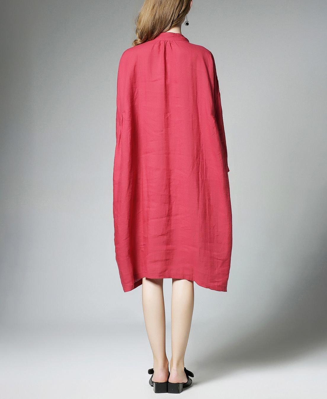 Button Front Linen Casual Dress