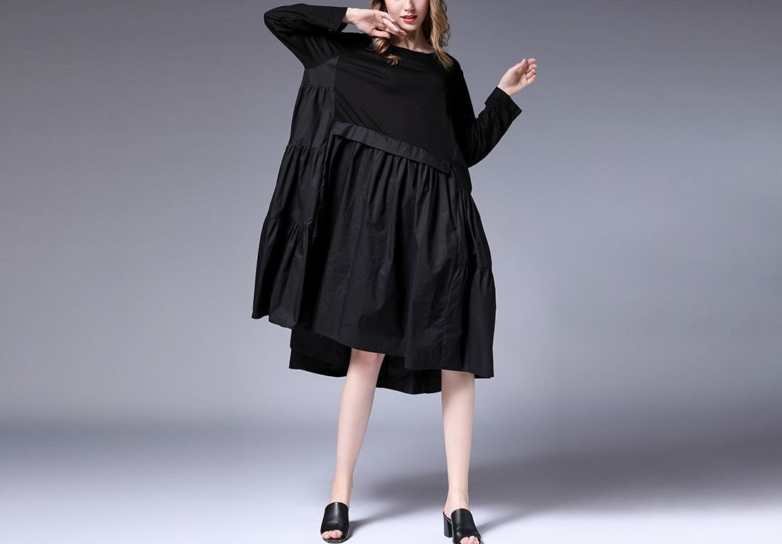 Woven Cotton Casual Dress with Oversize Fit