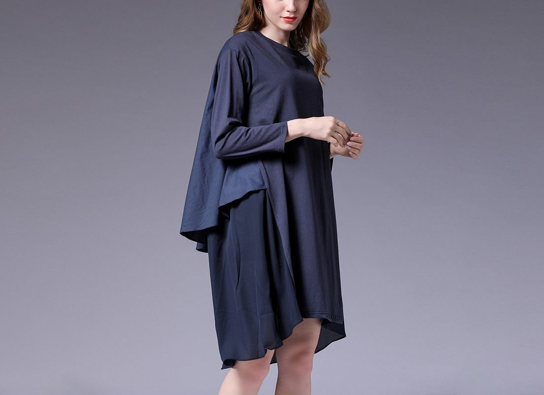 Loose Cotton Casual Dress with 2-Layers in Back
