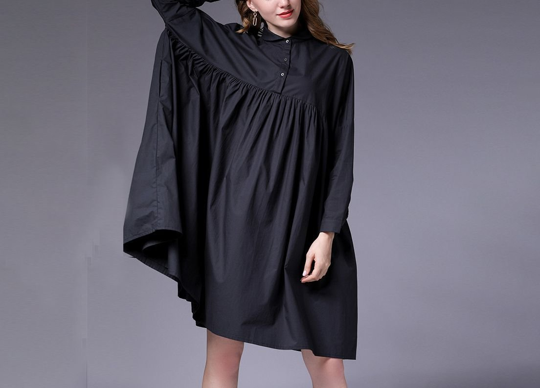 Cotton Casual Dress with Empire Waist and Buttoned Collar