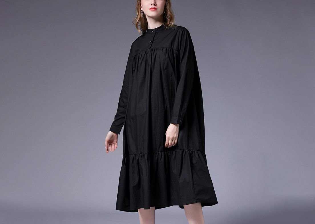 Loose Casual Dress with Bottom Flounce