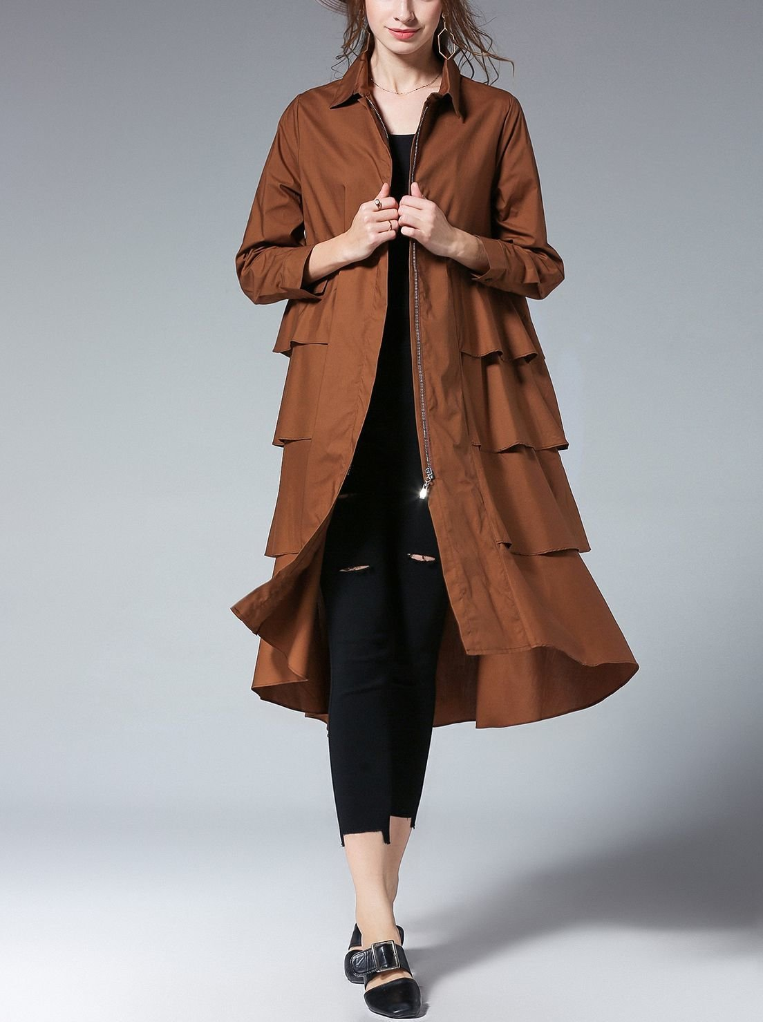 Cotton Windbreaker Coat with Tiered Back