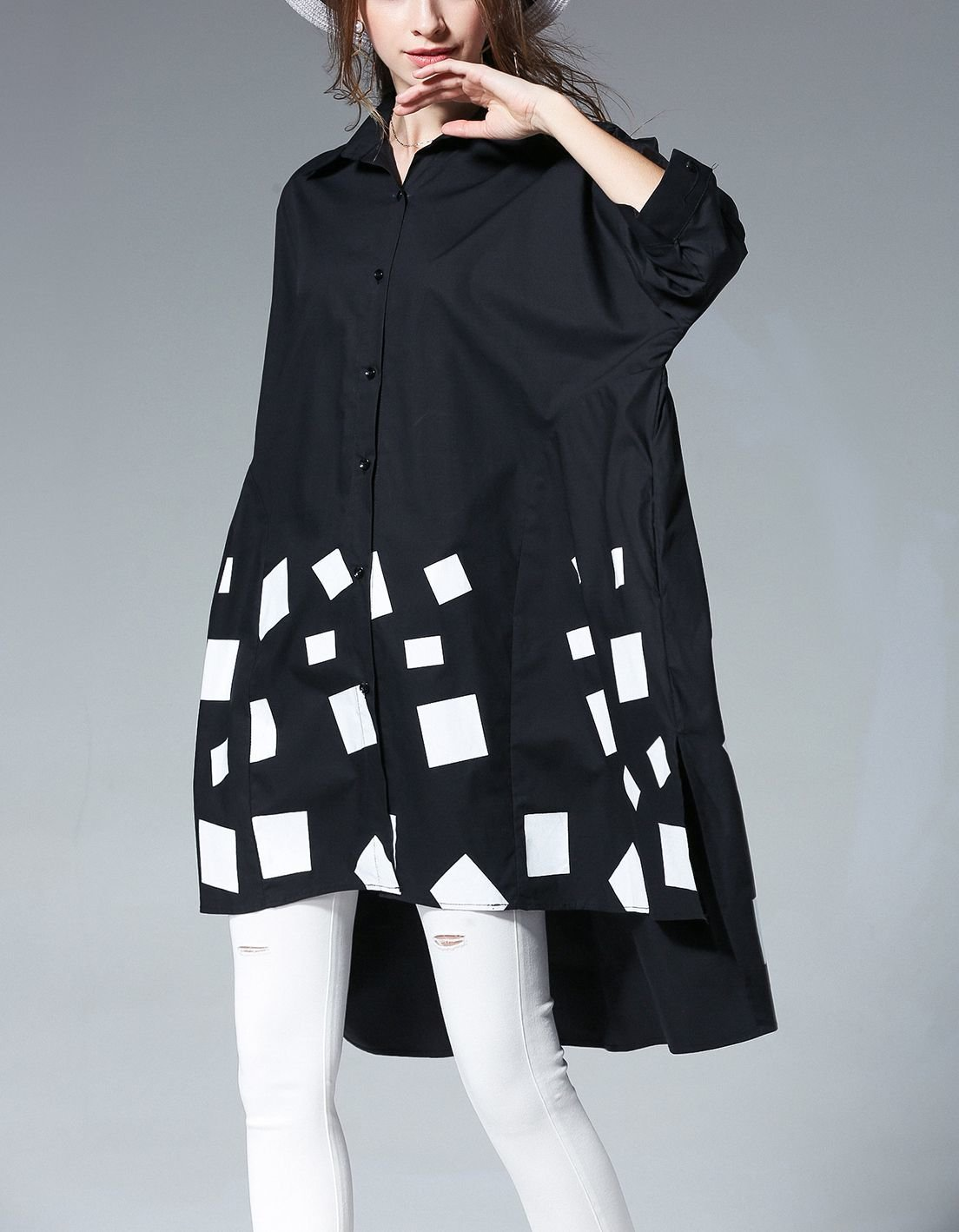 Cotton Smock Top with Loose Fit and Pop Art Print