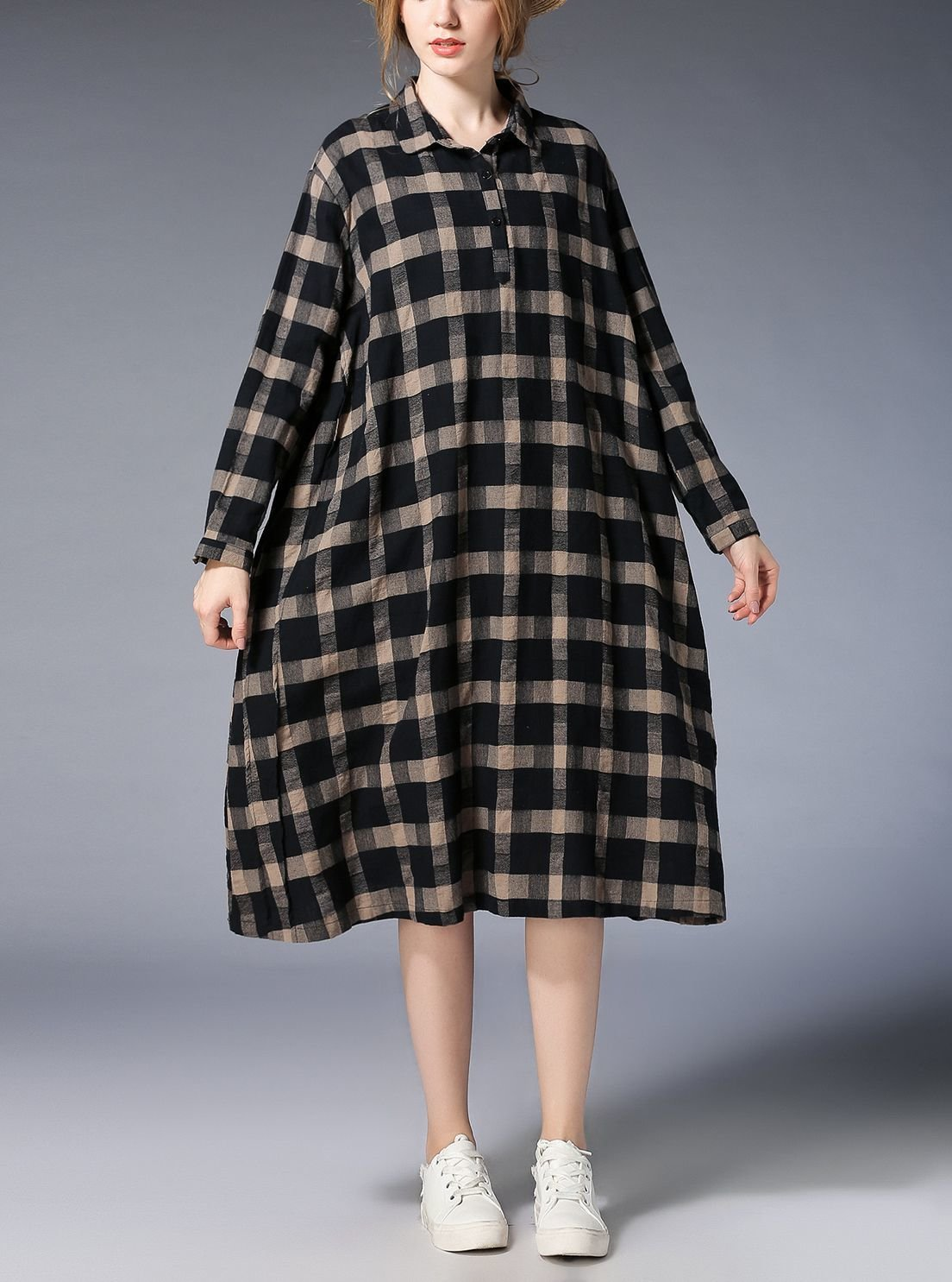 Plaid Casual Dress in Tent Dress Style