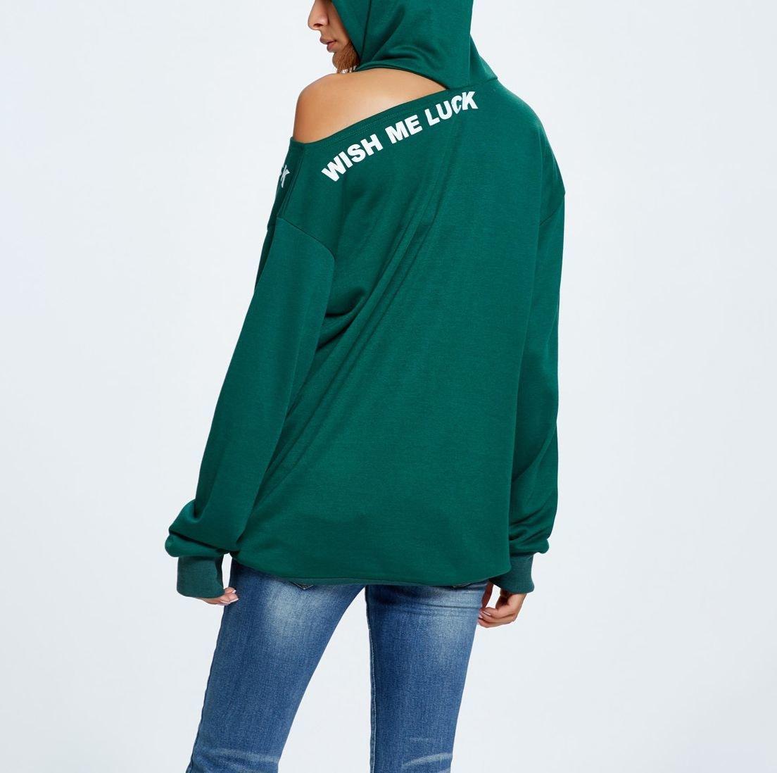 Hoodie Top with one Open Shoulder