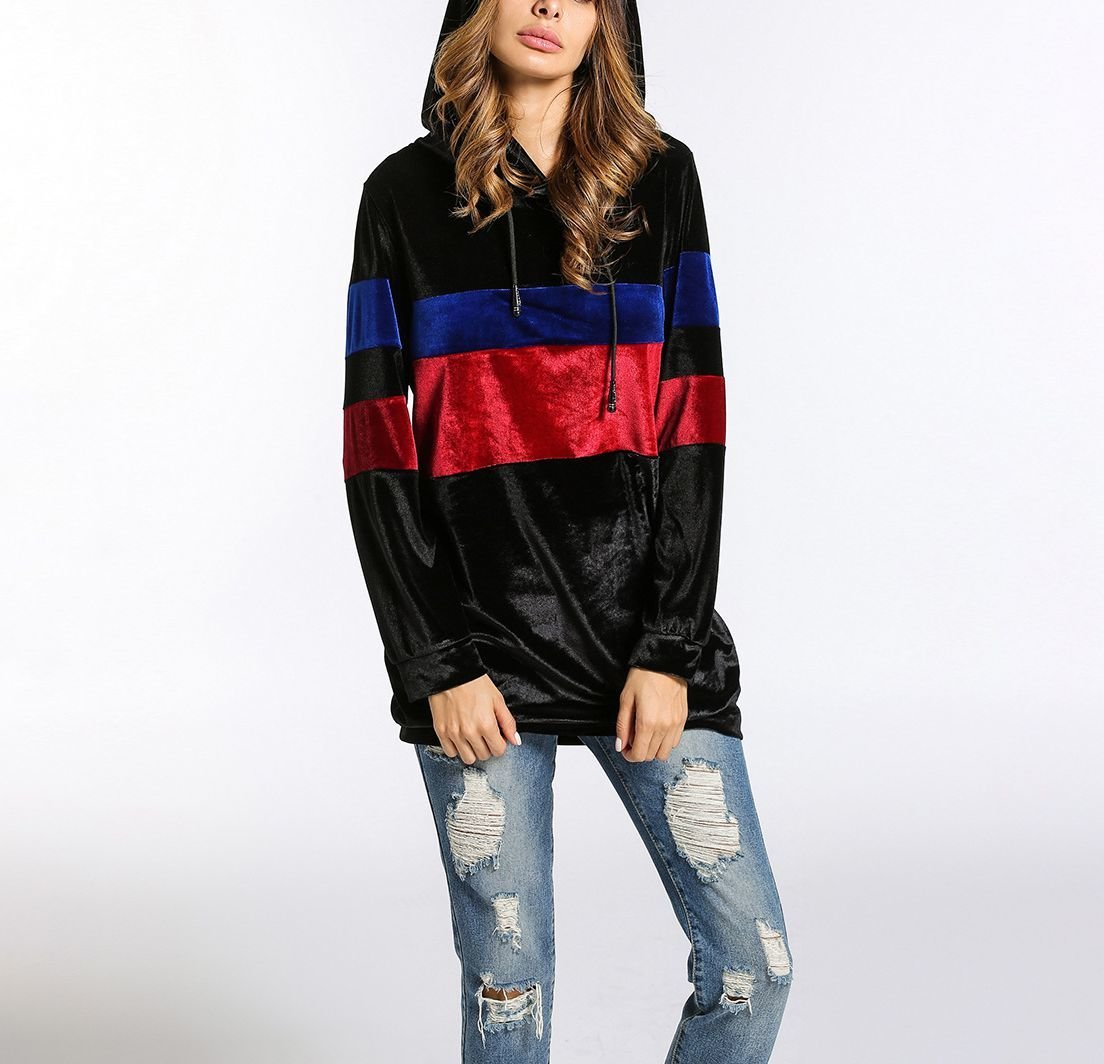 Velvet Hoodie Top with Chest Stripes