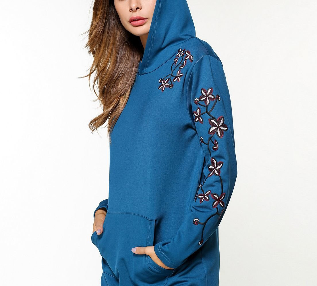 Long Hoodie Top with Embroidered Floral Accents