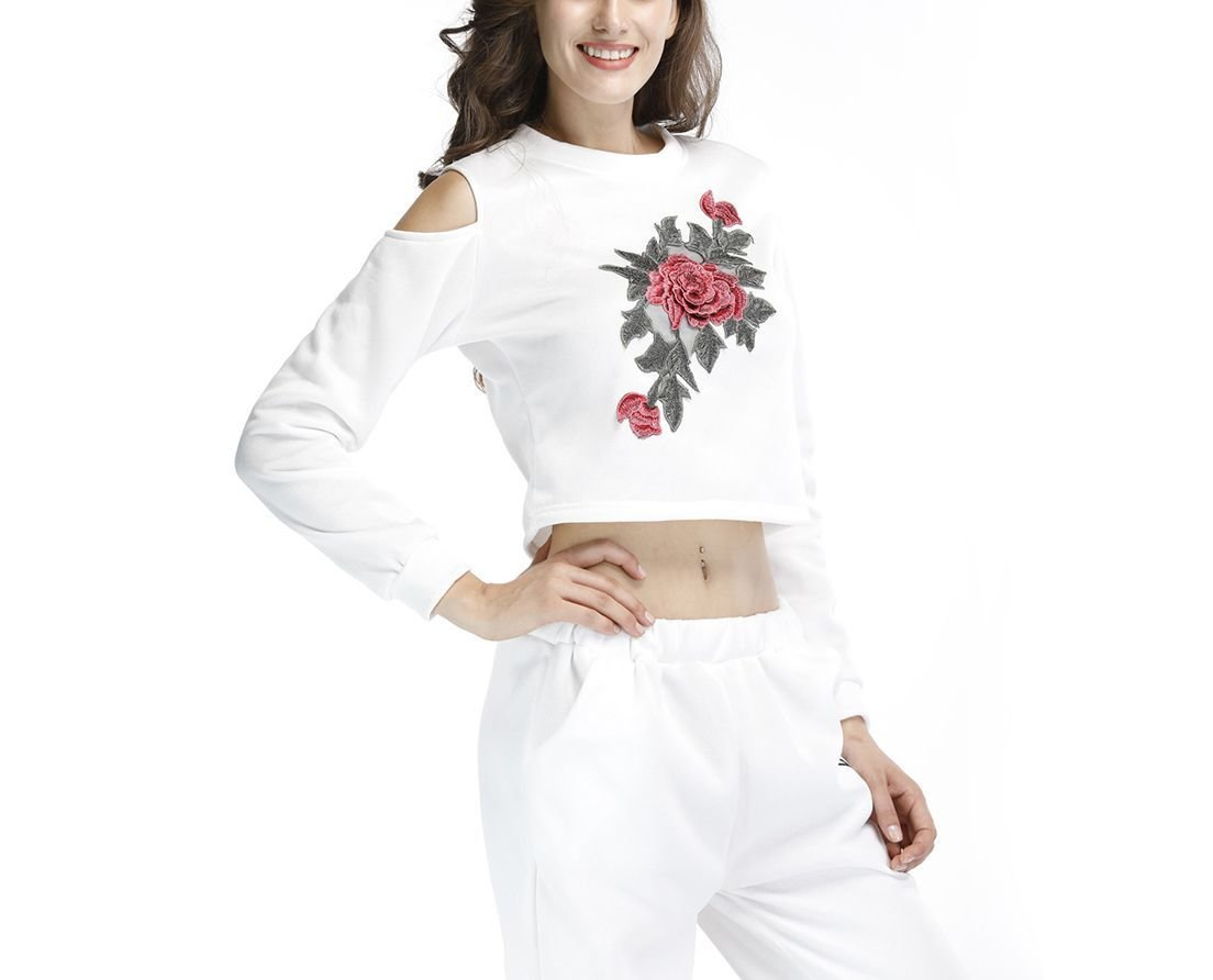 Knit Top with Cold Shoulders and Embroidery