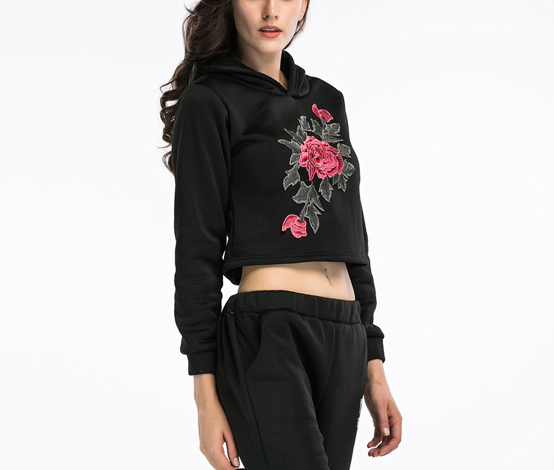 Knit Top with Hood and Embroidery