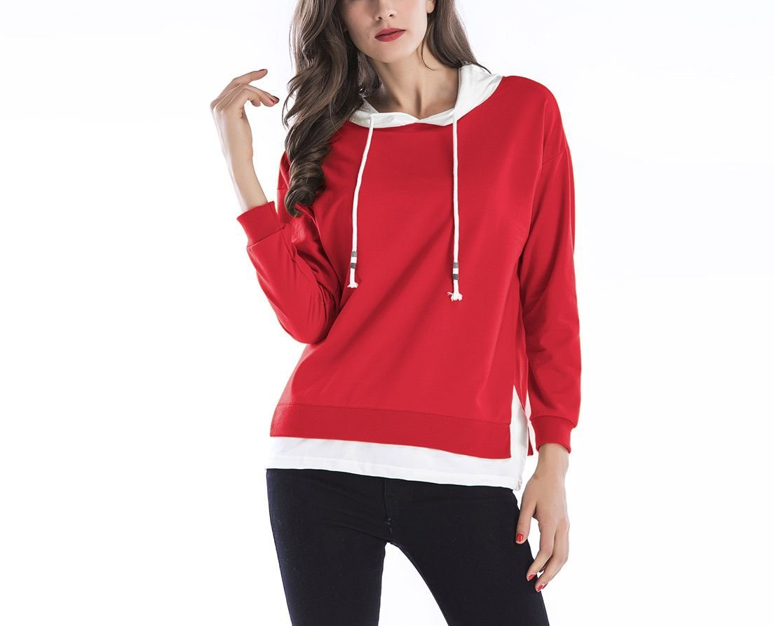 Hoodie Knit Top with Layered Look