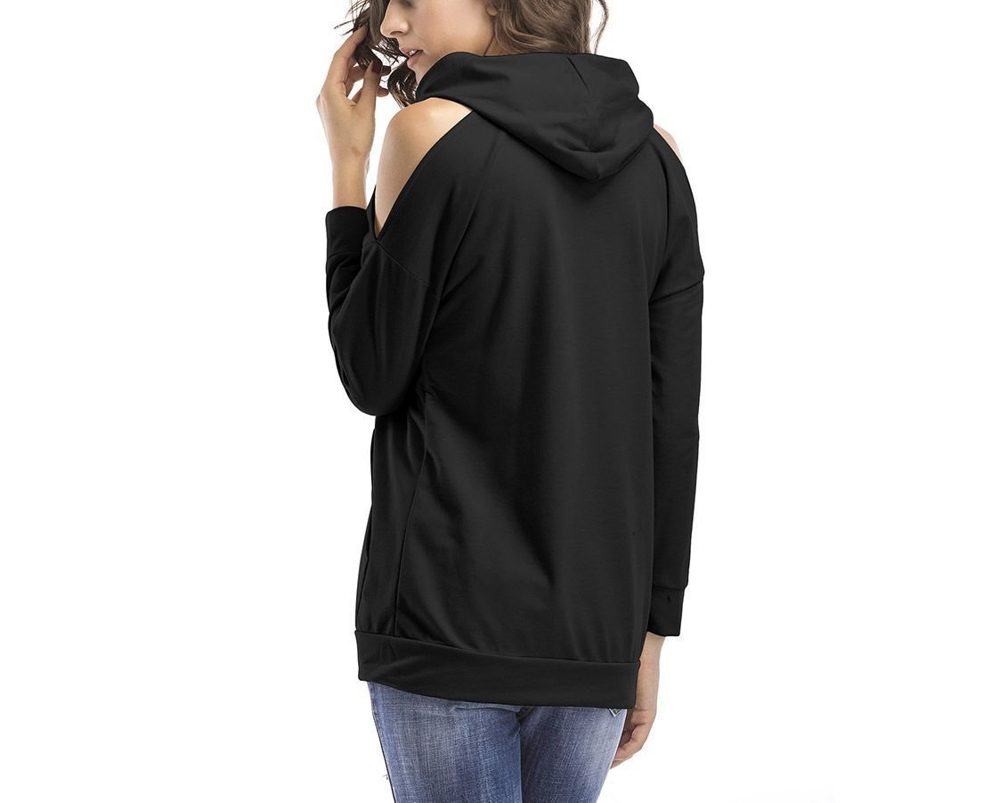 Cold Shoulder Knit Top with Hood and Kangaroo Pouch Pocket