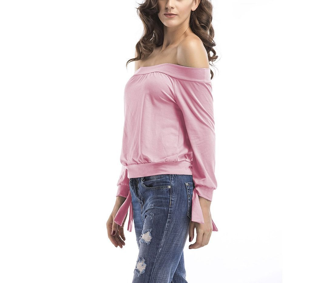 Knit Top with Off-Shoulder Neckline and Tied Cuffs