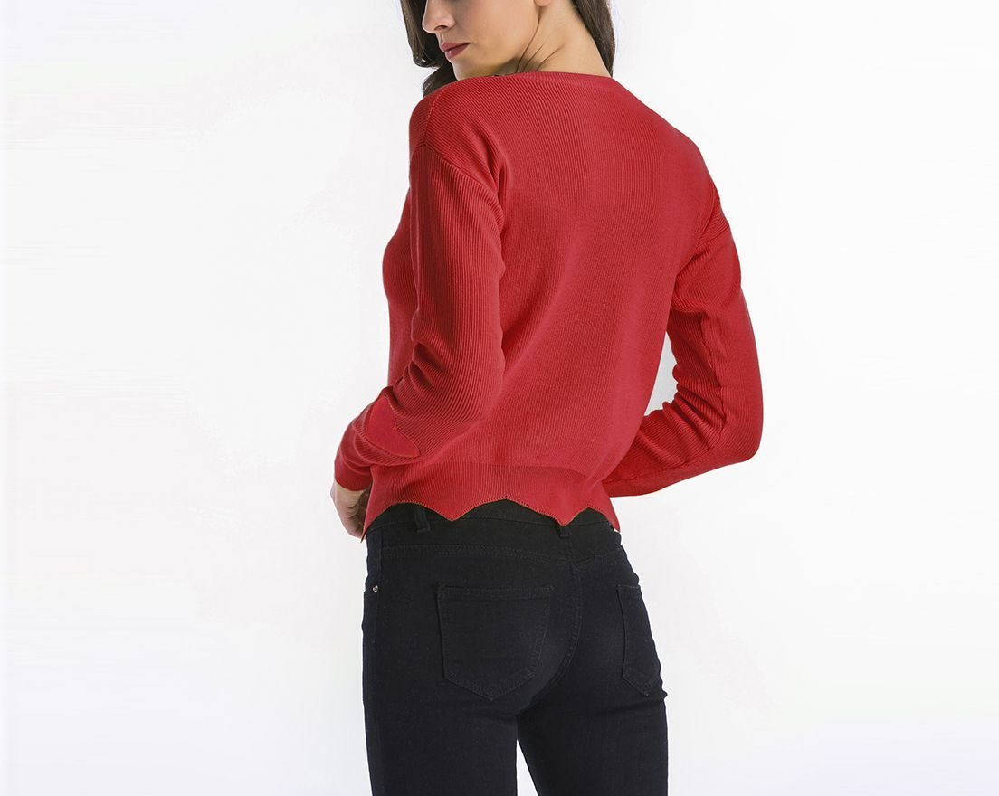Fine Ribbed Knit Sweater with Shaped Hemline