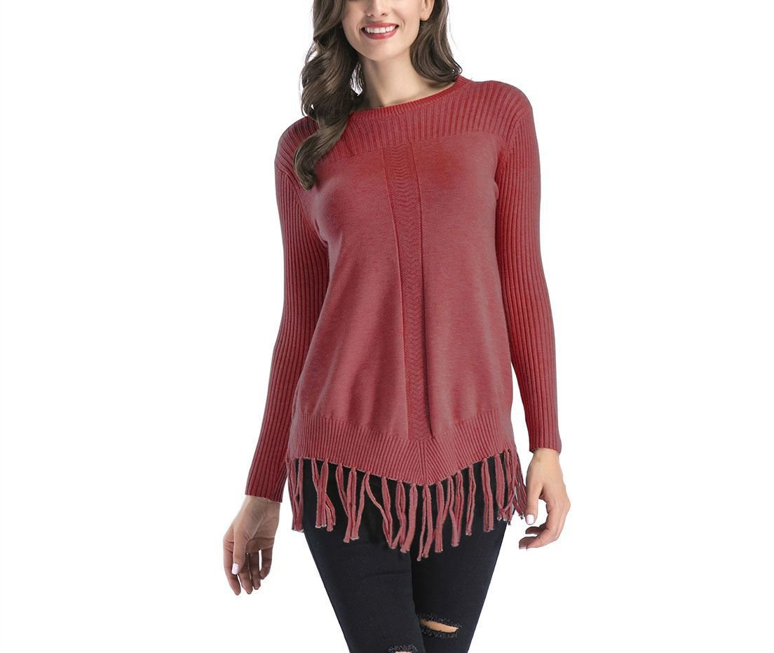 Fringed Pullover Sweater with Ribbed Details