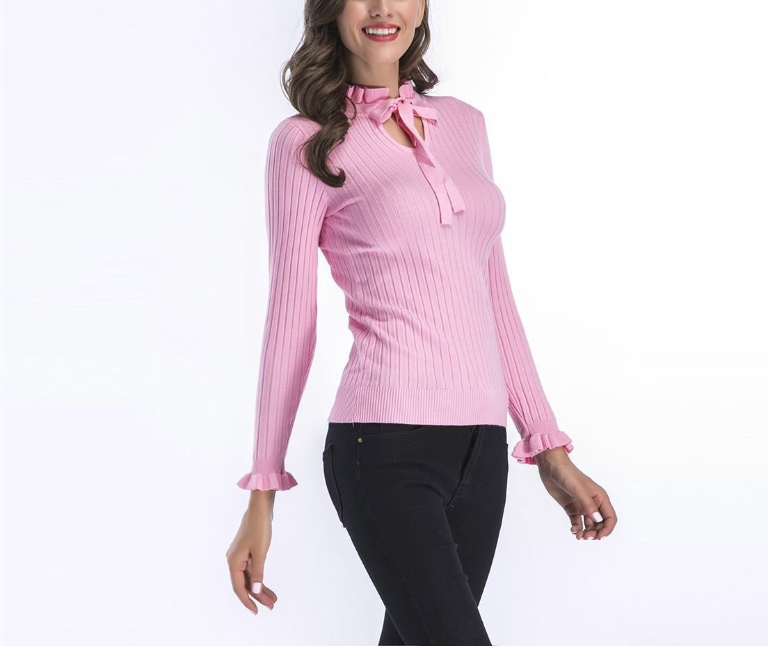 Ruffled and Ribbed Sweater