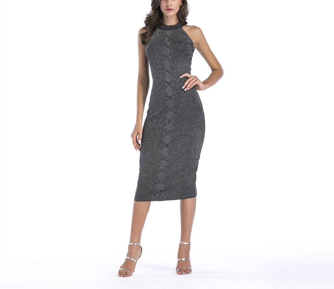 Metallic Knit Sweater Dress with Cabled Front