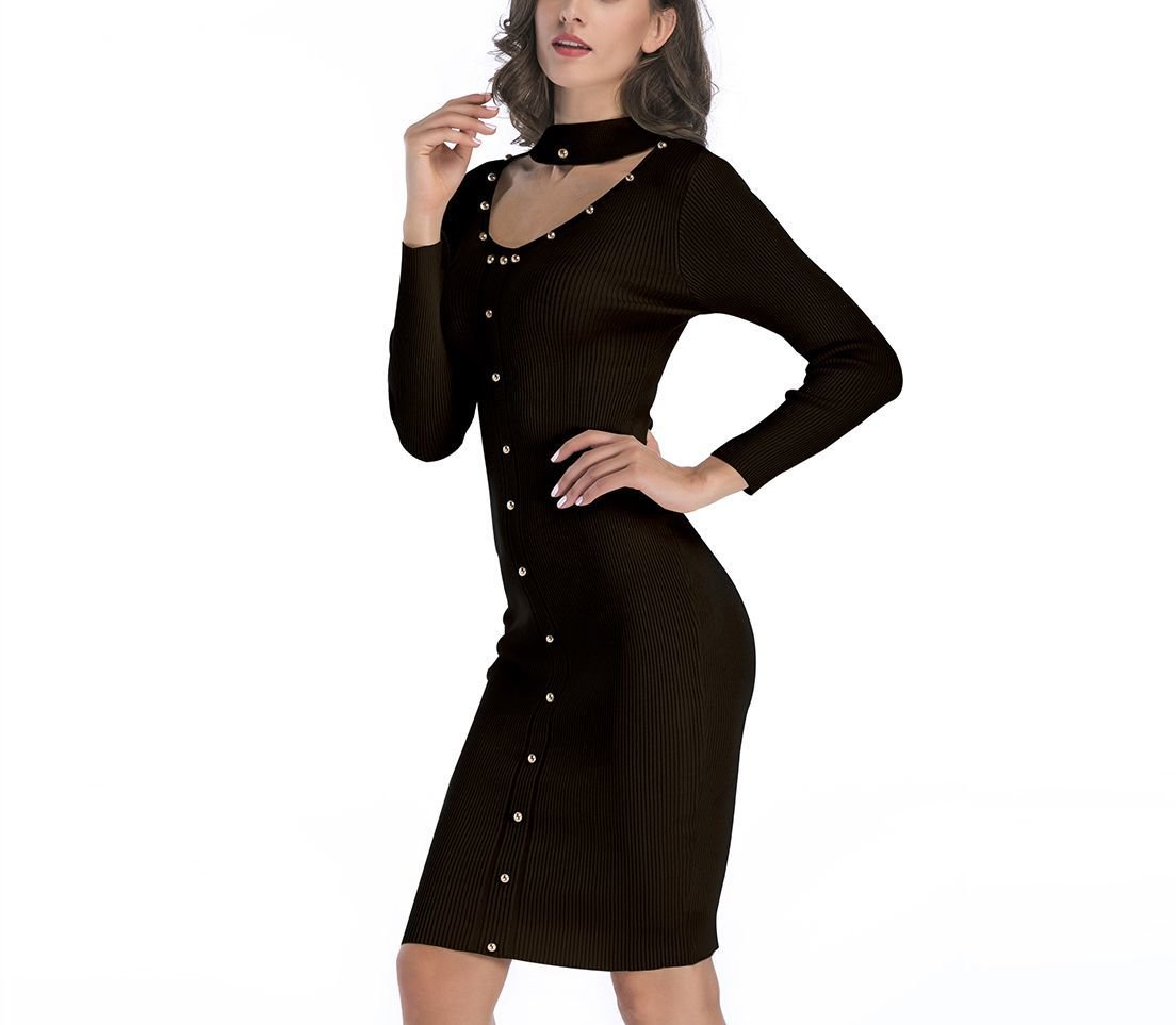 Bodycon Sweater Dress with Shiny Buttons