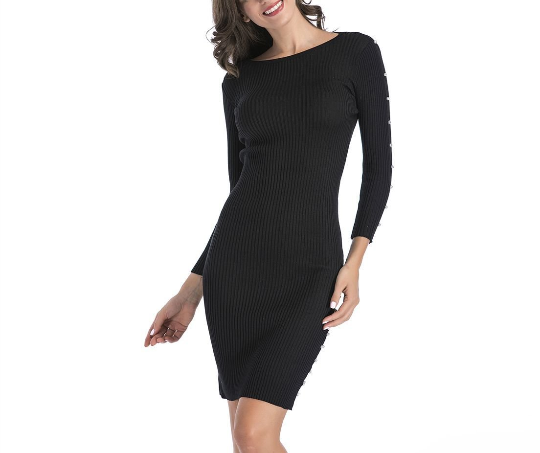 Classic Sweater Dress with Long Sleeves and Button Trim