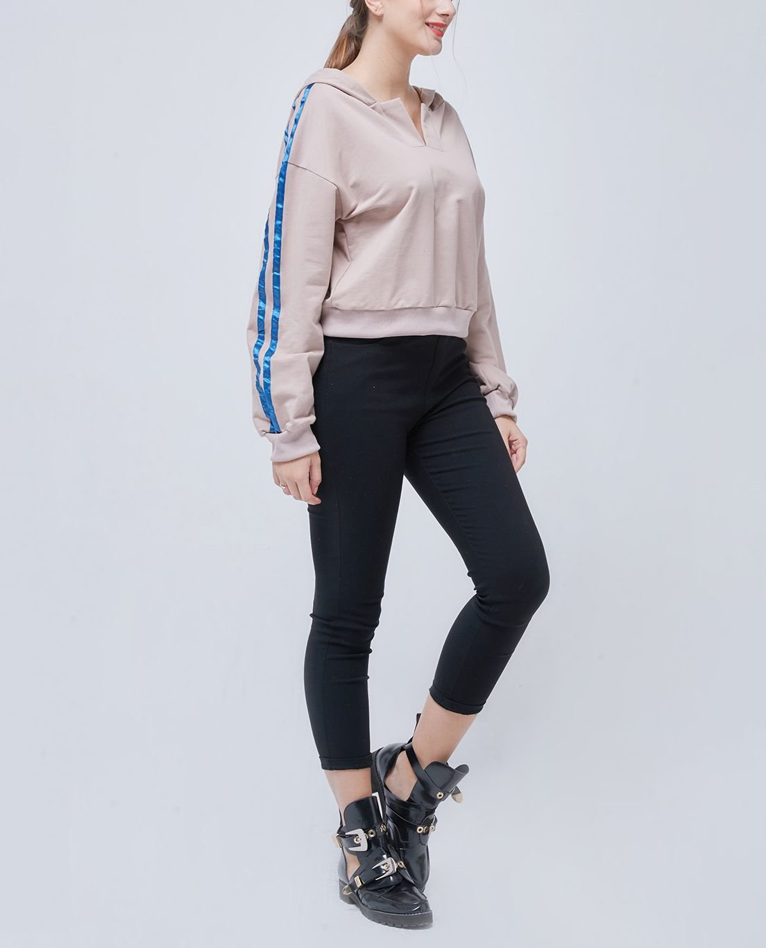 Knit Hoodie Top with Shiny Stripes on Sleeves
