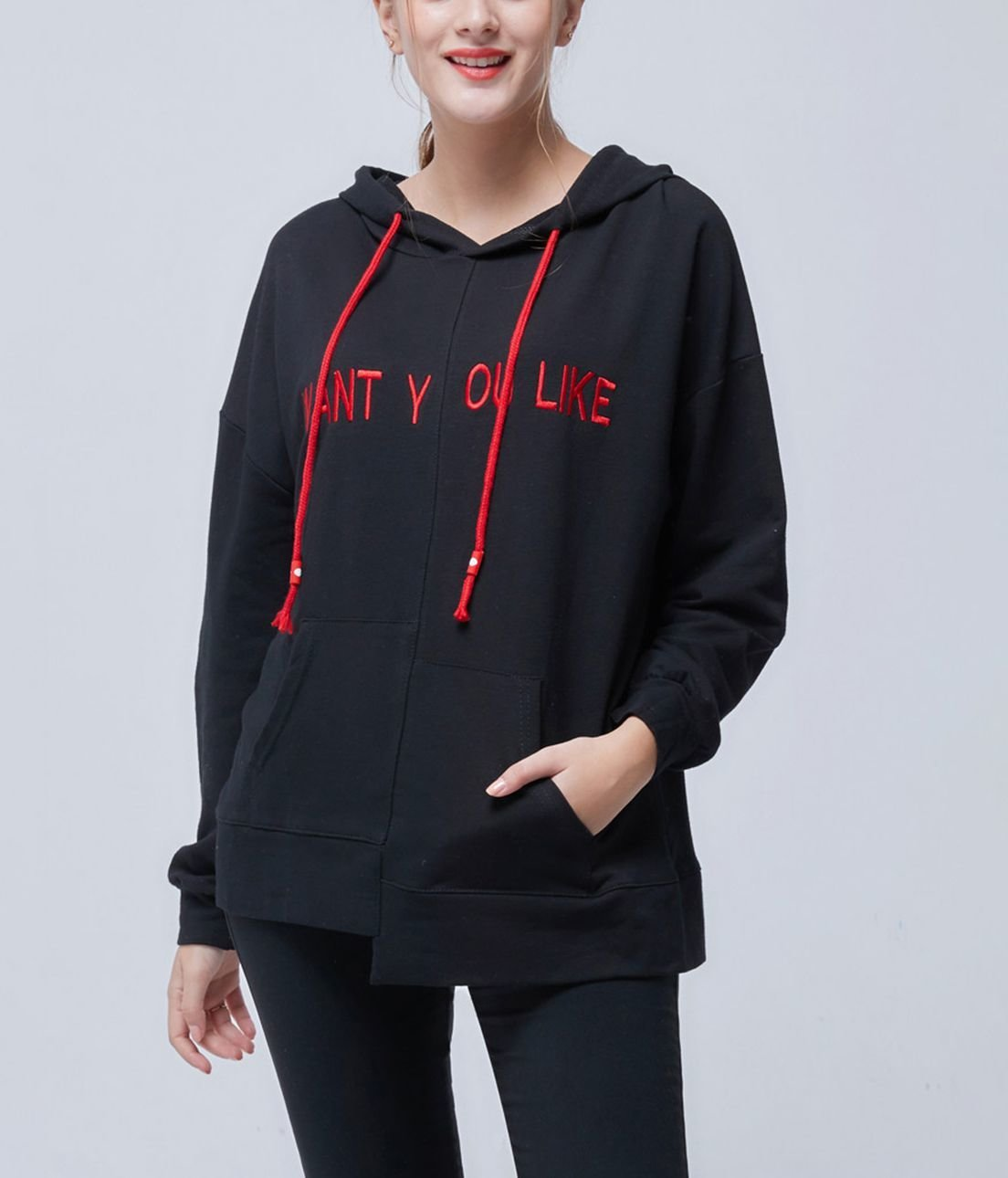 Knit Hoodie Top with Uneven Hem and Front Pockets
