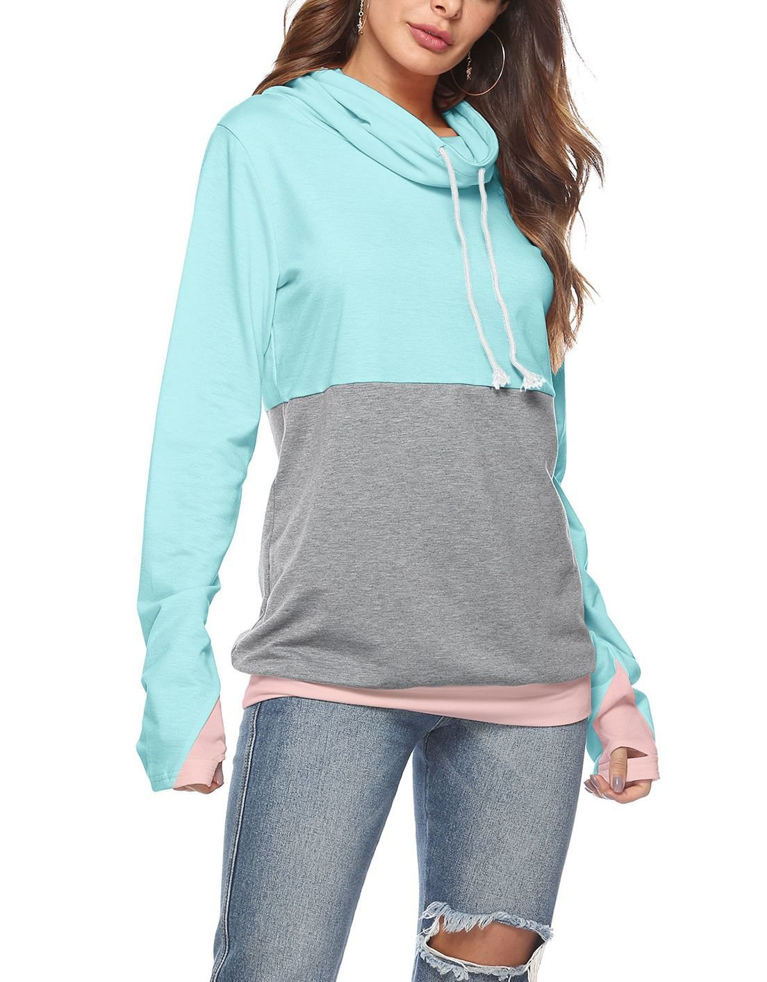 Color Blocked Cowl Top with Extra-Long Sleeves