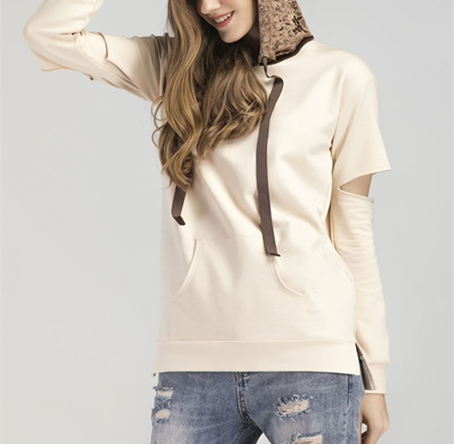 Knit Top with Crushed Velvet Hood