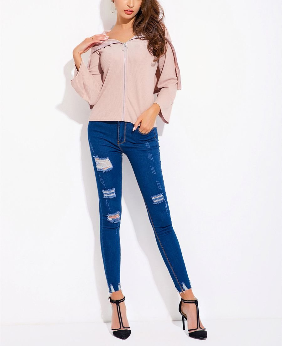 Ribbed Top with Long Cape Collar in Back
