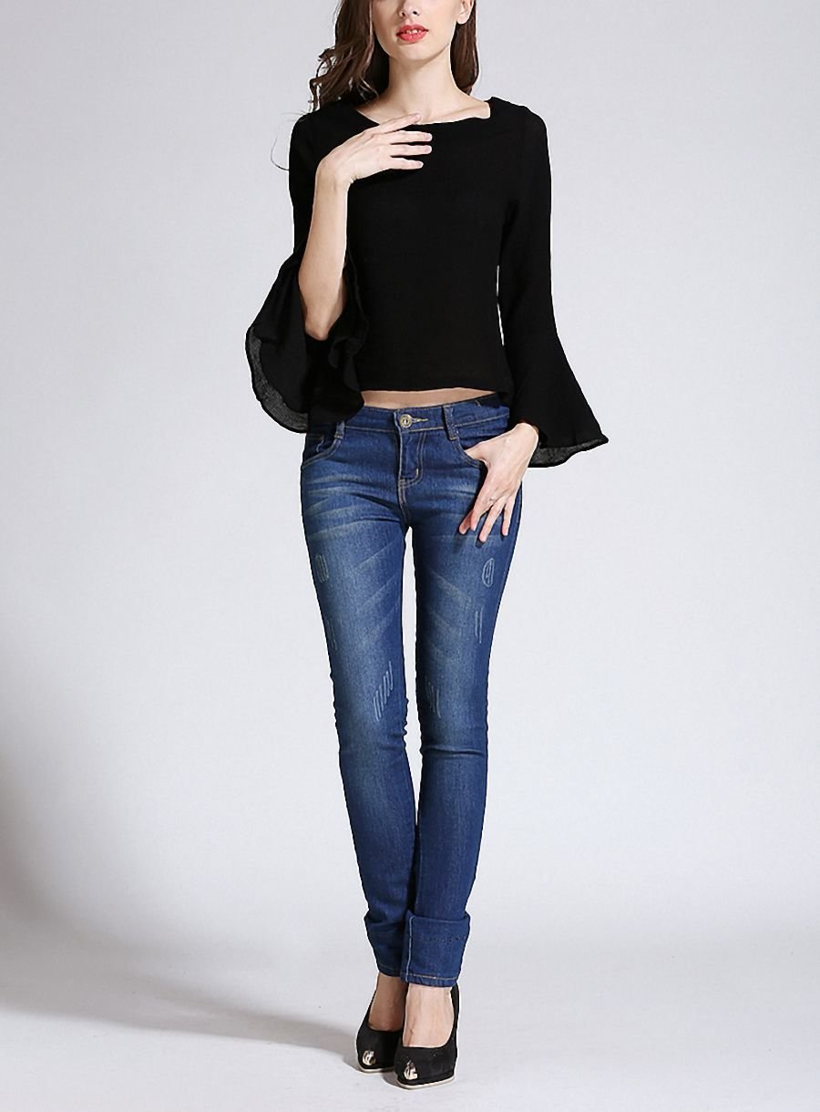 Cropped Top with Boat Neck and Trumpet Sleeves