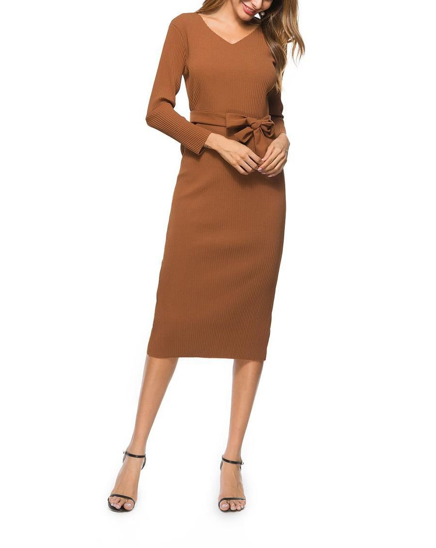 Ribbed Knit Column Dress for Work
