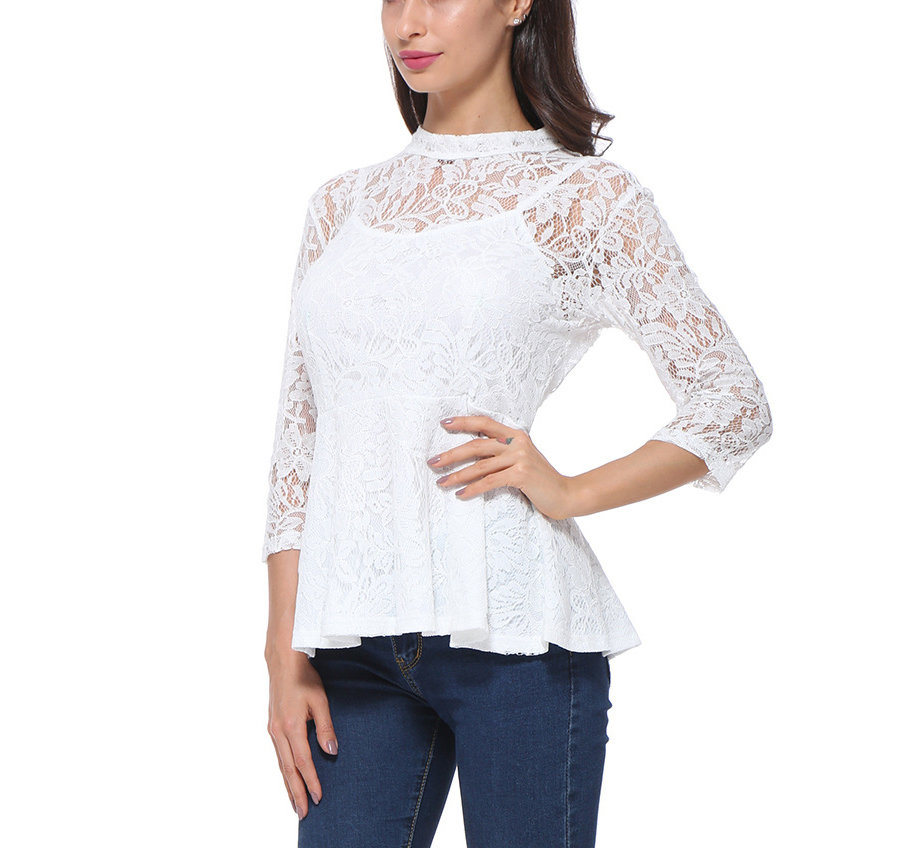 Lace Top with Sheer ¾ Sleeves and Slip Lining