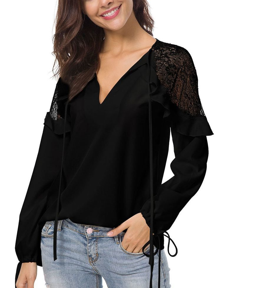 Feminine Top with Sheer Lace Shoulders