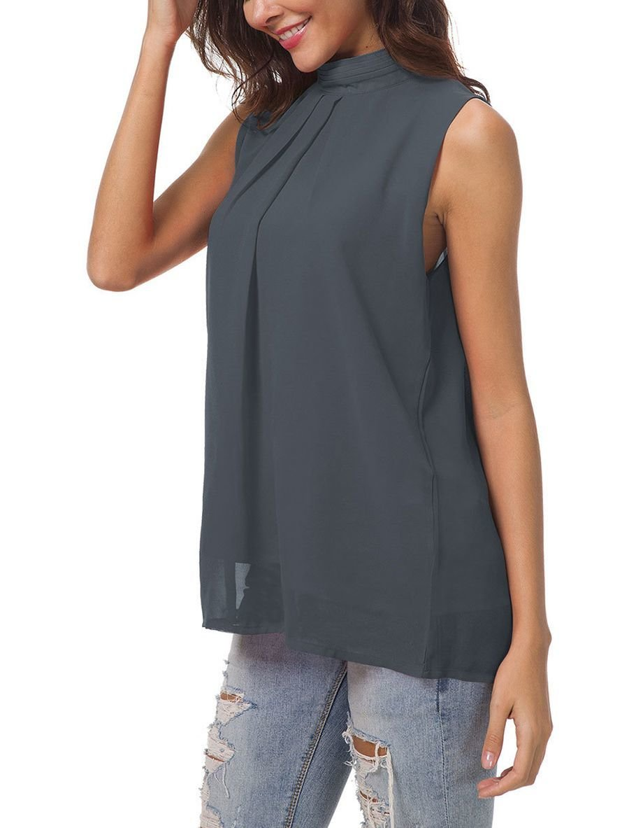 Sleeveless Chiffon Top with High Collar
