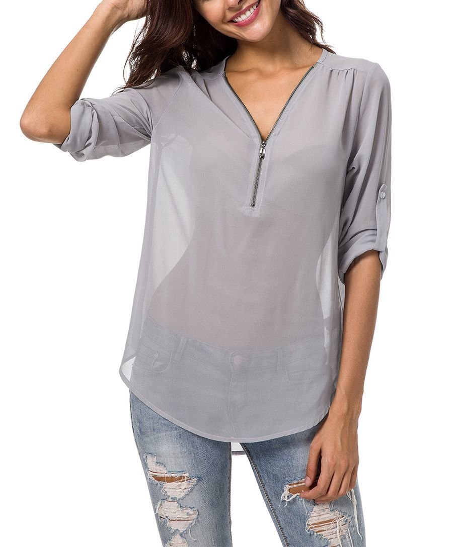 Chiffon Top with Front Zipper and Roll-Up Sleeves
