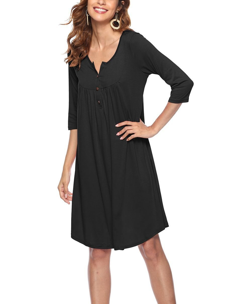 Loose Casual Dress with ¾ Sleeves