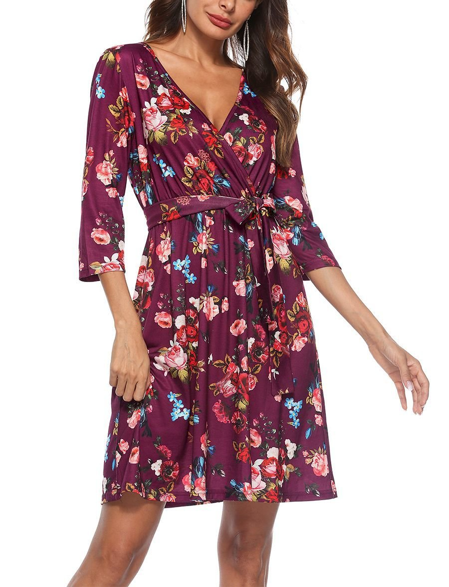 Casual Dress with Wrap Styling and ¾ Sleeves
