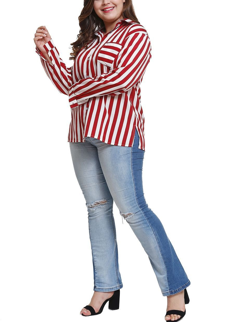 Striped Top with Classic Shirt Styling in Large Sizes