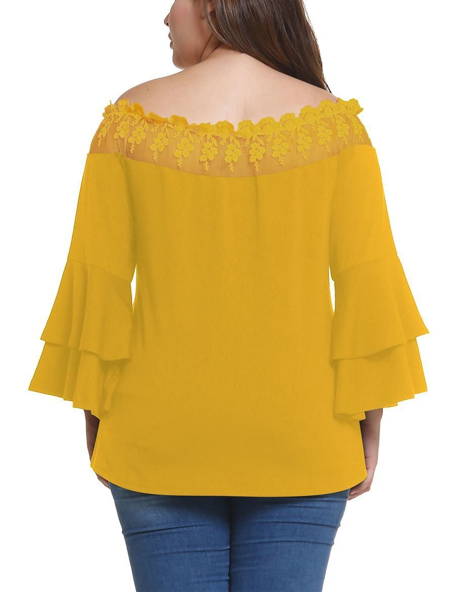 Large Size Top with Off-Shoulder Lace Neckline