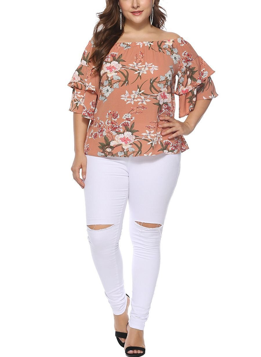 Off-Shoulder Chiffon Top in Large Sizes