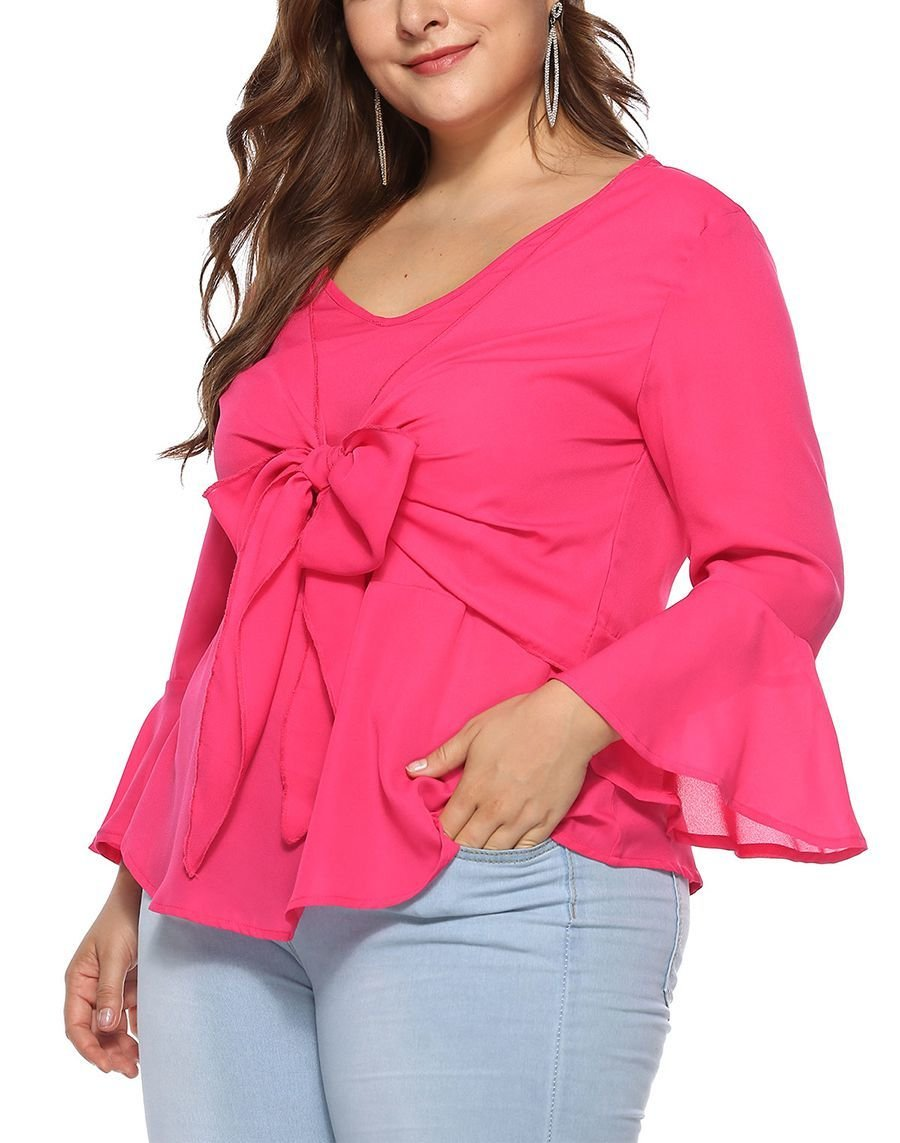 Chiffon Top with Tied Front Overlay and Trumpet Sleeves