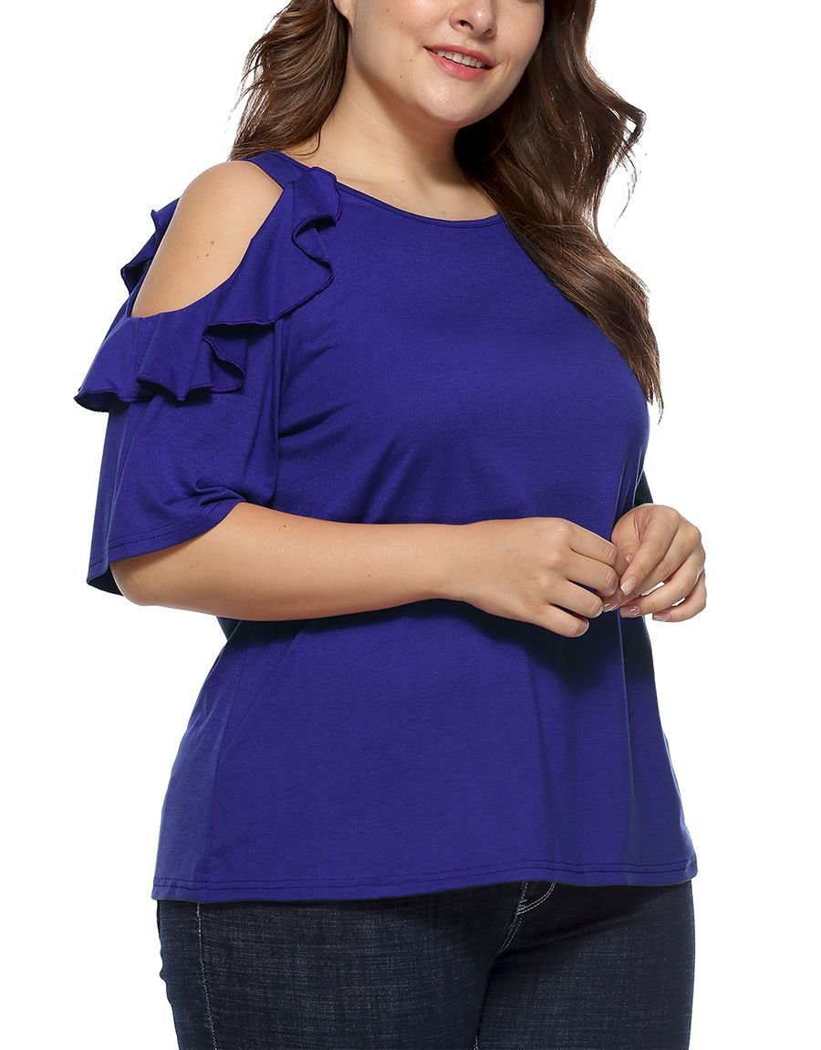 Large Size Knit Top with Cold Shoulders and Ruffles