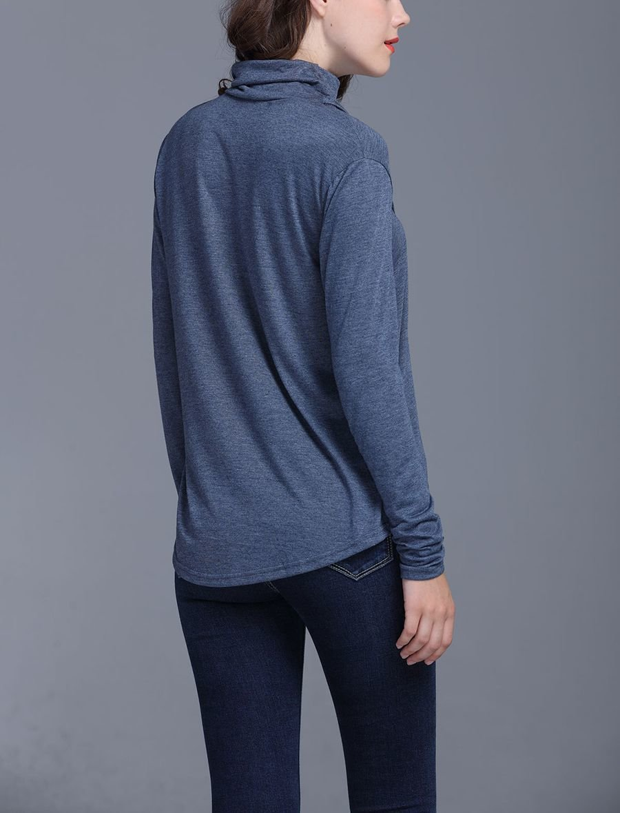 Knit Top with Turtleneck Collar and Front Scoop Neckline