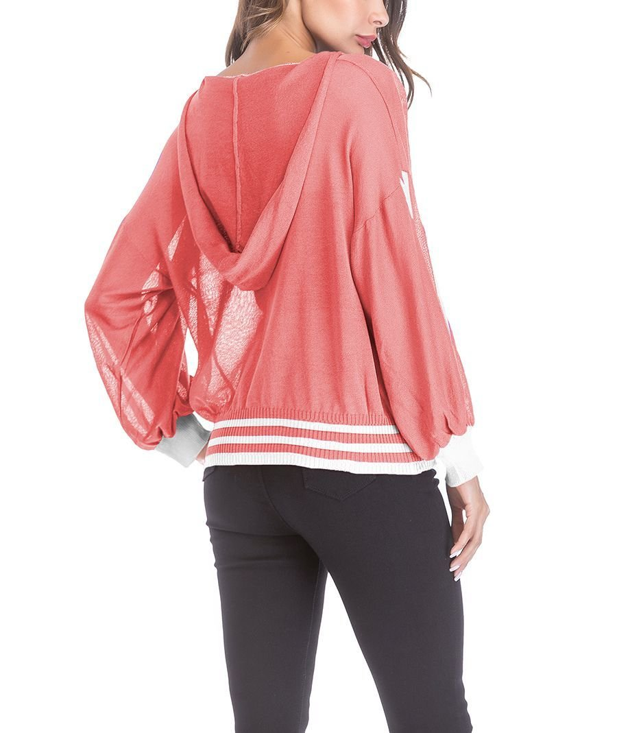 Knit Top with Sporty Sleeve Stripes and Ribbed Bottom Band