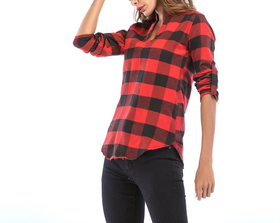 Checked Pullover Top with Band Collar