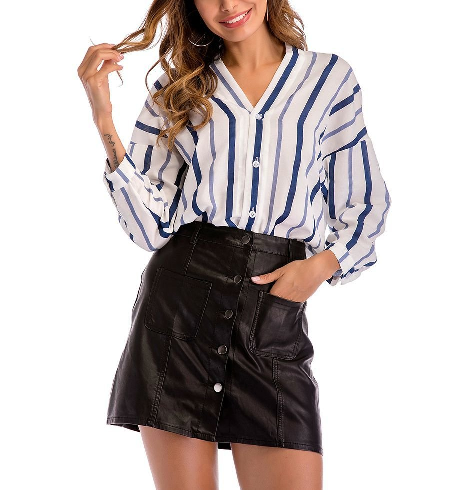 V-Neck Striped Top with Buttoned Front