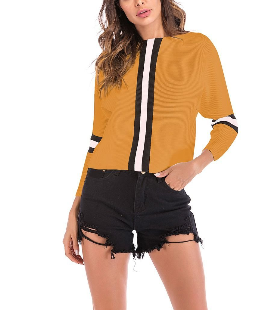 Ribbed Top with Bold Vertical Stripes