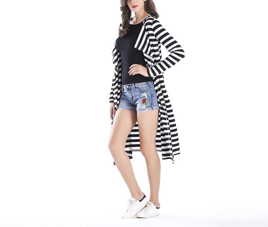Coat-Length Knit Cardigan Top