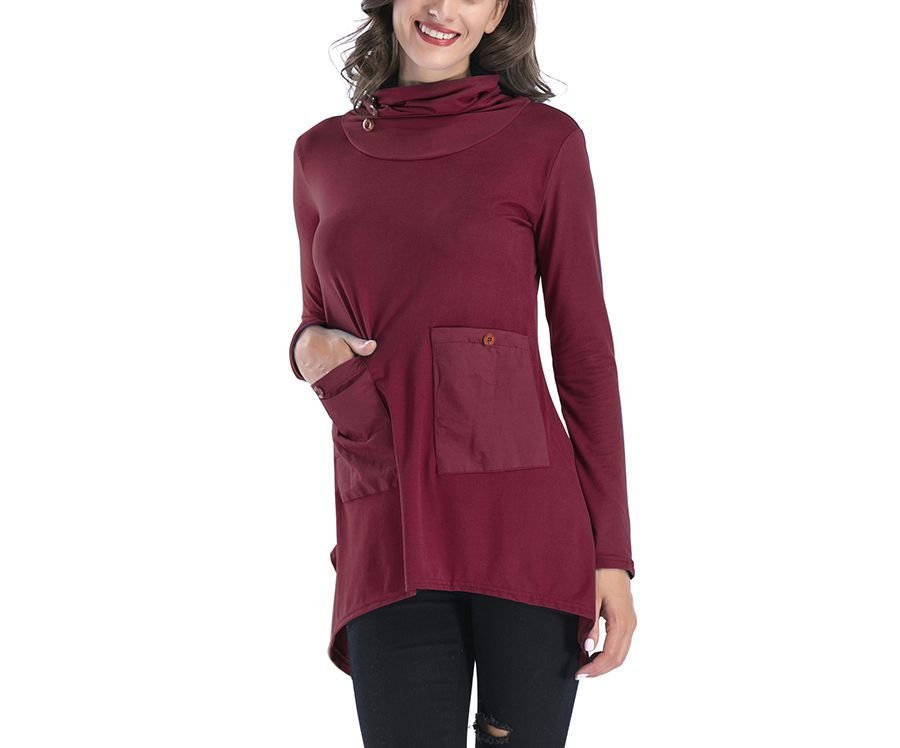 Tunic Top with Cowl Collar and Patch Pockets