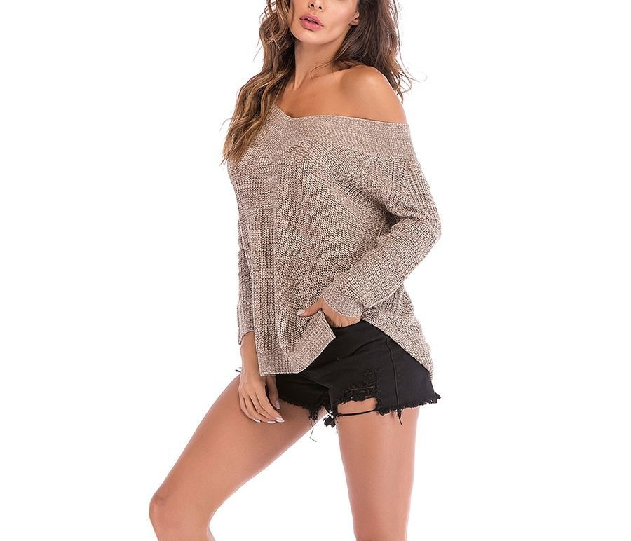 Off-Shoulder Knit Sweater with Oversized Fit