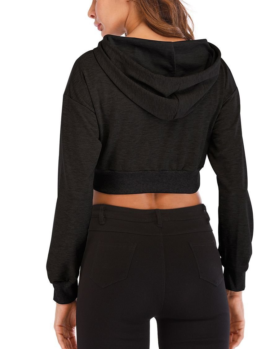 Cropped Knit Top with Drawstring Hood